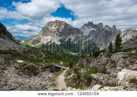 famous Italian  Dolomites alps, South Tyrol.  Auronzo. view on the Lagazuoi rock