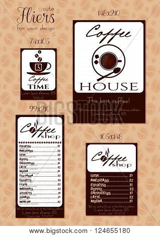 Coffee fliers for advertising of cafe. Handbill with coffee cup logo menu overview or contacts. Design flier card poster in retro style for coffee menu shop or cafe. Vector illustration
