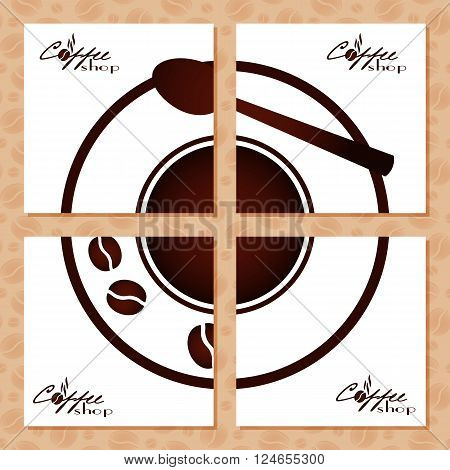 Coffee napkins for advertising of cafe. Conceptual set of white doilies with coffee cup design in retro style for coffee shop or cafe. Vector illustration