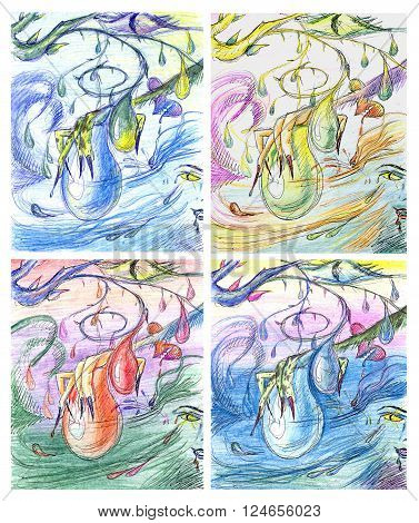 illustration sketch abstract painting in different variants colors