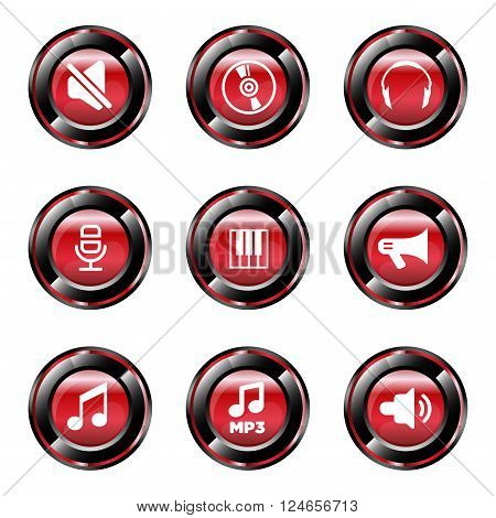 Music icons set vector design template button