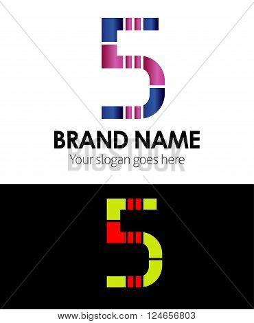 Number 5 logo company vector design template