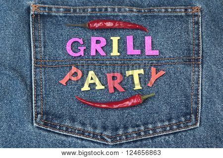 Summer Barbeque Or Grill Party Inventation Concept On Jeans Background