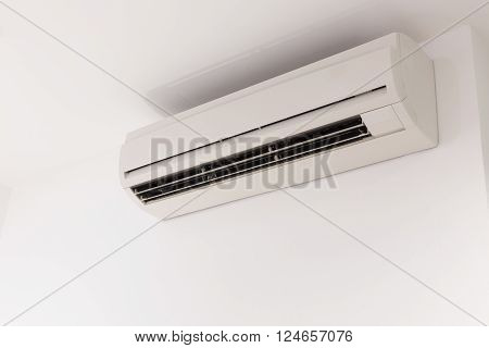 air conditioner on white mortar wall background