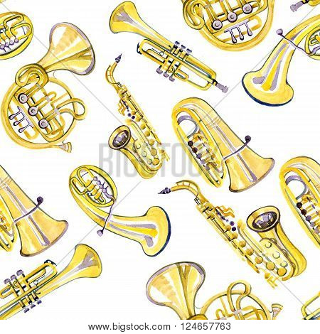 Watercolor copper brass band pattern on white background