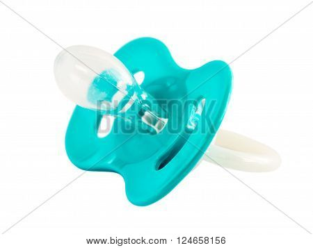 Blue baby silicone pacifier isolated on white background