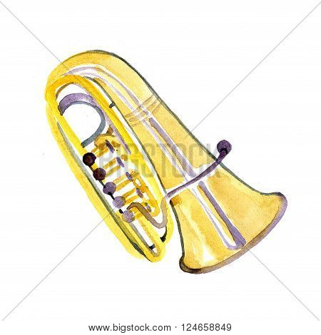 Watercolor copper brass band tuba on white background