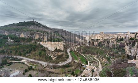 Wide view of Cuenca and the Parador de Turismo, Spain