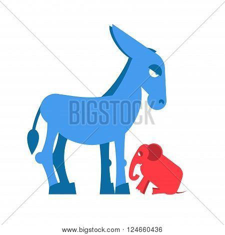 Big Blue Donkey and little red elephant symbols of political parties in America. Democrats against Republicans. Opposition to USA policy. Symbol of political debate. American elections