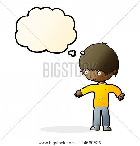 cartoon confused boy with thought bubble
