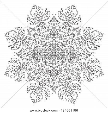 Vector Mandala. Oriental decorative element. Islam Arabic Indian turkish pakistan chinese ottoman motifs. Ethnic design elements. Hand drawn mandala. Monochrome contour mandala for coloring.