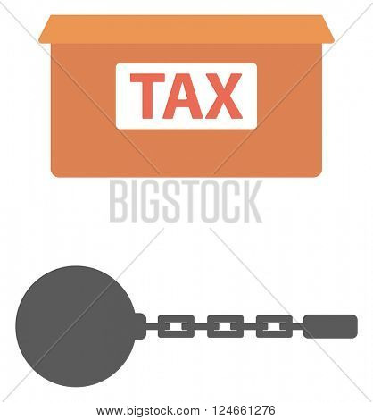 Box for taxes and chain with ball