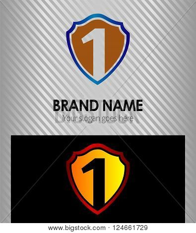 Number one shield blue, 1 logo vector design template