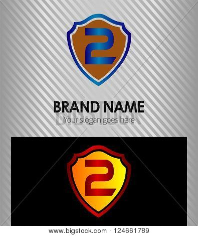Number two shield blue, 2 icon vector design template