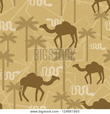 Camel And Snake Military Camouflage Background. Desert Protective Seamless Pattern. Beige Army Soldi