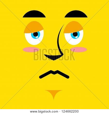 Cartoon sad face on yellow background. Sadness emotion. Pessimistic personality. Pitiful face. Mournful pathetic character