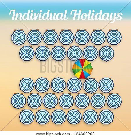 Beach background concept of individual holidays. Summer sunny illustration. Vector Illustration