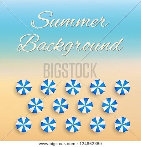 Beach background with sun umbrellas. Summer sunny illustration. Vector Illustration.