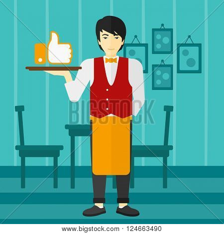 Waiter with like button.