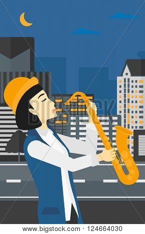 Woman playing saxophone.