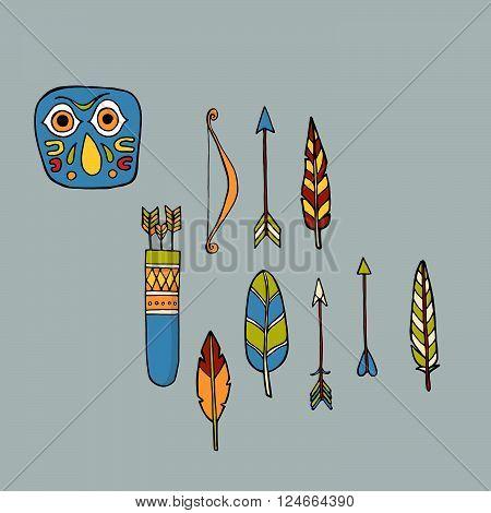 Colorful tribal indian bird totem. Vector illustration
