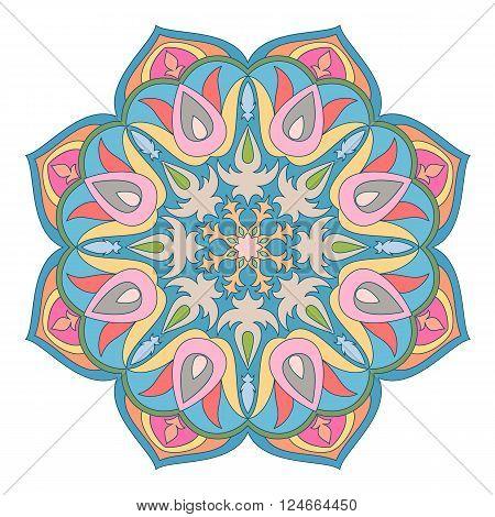 Vector Mandala. Oriental decorative element. Islam, Arabic, Indian, turkish, pakistan, chinese, ottoman motifs. Ethnic design elements. Hand drawn mandala. Colorful mandala symbol for your design.