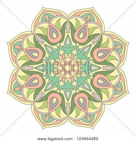 Vector Mandala. Oriental decorative element. Islam Arabic Indian turkish pakistan chinese ottoman motifs. Ethnic design elements. Hand drawn mandala. Colorful mandala symbol for your design.
