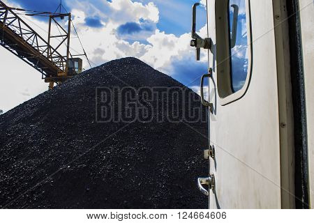Coal mountain look from the door of  tug boat