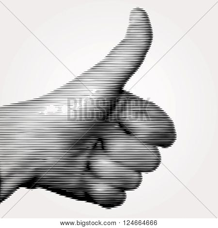 vector linear halftone like sign with thumb up