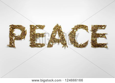 Concept of peace. Word Peace typed with font made of bullets on white background.