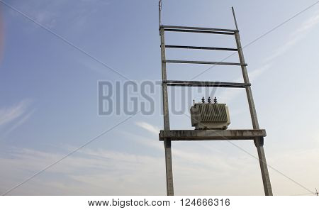 Electric transformer on electric pole energy supply