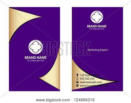 Purple business card templates vector design template
