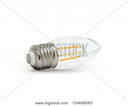 LED filament light bulb (E27). With clipping path