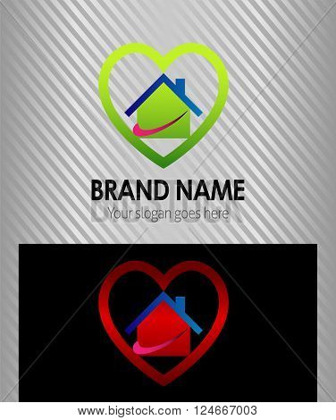 Real estate logo house and heart icon