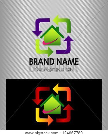 Real estate sign logo icon design template with house and arrow