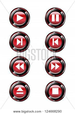 Red round media player buttons and audio player isolated on background