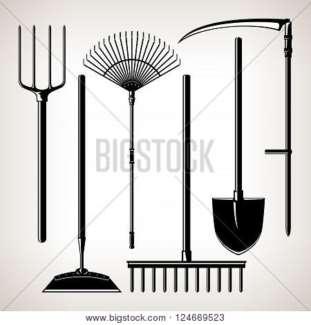 Set of Agricultural Tools, Isolated on a Light Background, Silhouette Garden Equipment , Black and White  Vector Illustration