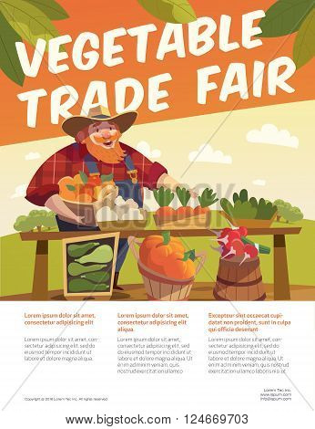 Man farmer with bucket of fruits. Vegetable stall. Fruits and vegetables trade fair flyer. Agriculture exhibition flyer. Vector. Modern flat design. EPS 10. Colorful illustration.
