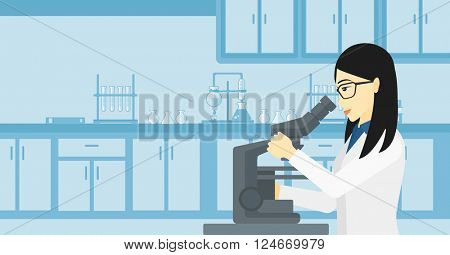 Laboratory assistant with microscope.