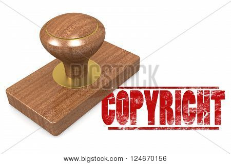 Copyright wooded seal stamp image with hi-res rendered artwork that could be used for any graphic design., 3D rendering