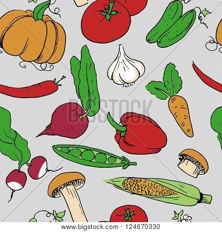 Hand drawn colorful seamless background pattern. Vector stock illustration