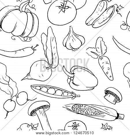 Hand drawn seamless background pattern. Vector stock illustration
