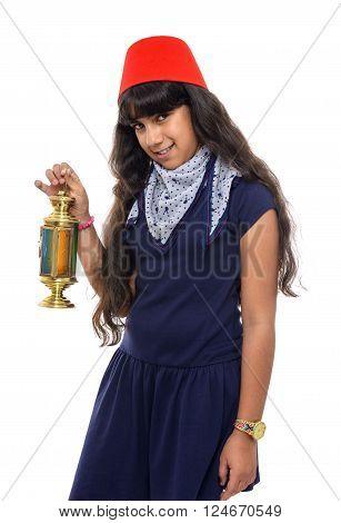 Happy Female Teenager With Ramadan Lantern