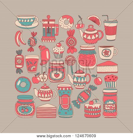 Images for confectionery or coffee shop Hand drawn images
