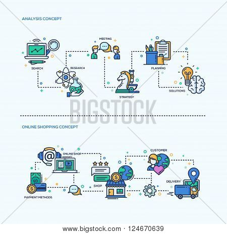 Analysis, Online Shopping icons business concepts compositions set. Vector modern line flat design infographics and webdesign elements. Search, research, meeting, strategy, planning, solutions,  payment methods, online shop, customer, delivery
