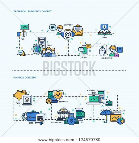 Technical Support, Finance icons business concepts compositions set. Vector modern line flat design infographics and webdesign elements. Support, team, cionsulting, info, safe, payment, payment, money