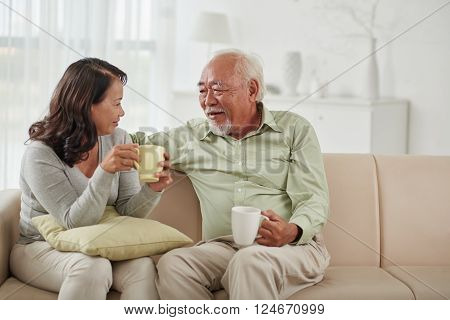 Asian aged couple drinking tea and chatting at home