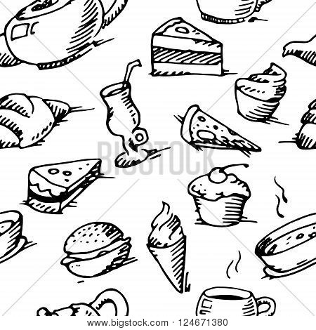 Black and white hand drawn seamless vector stock illustration