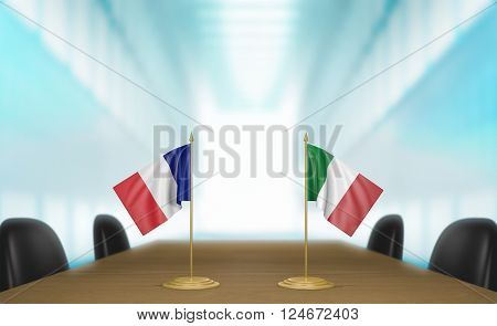 France and Italy relations and trade deal talks 3D rendering