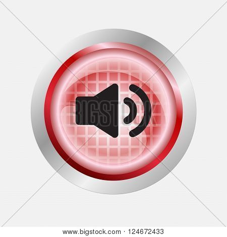 Speaker sound volume icon sign on red button